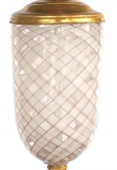Aureliano Toso Pair of Murano Pink and White Lattacino Lamps by Dino Martens for Aureliano Toso - 1359834