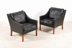 B rge Mogensen Borge Mogensen B rge Mogensen Pair of Black Leather Armchairs Model 2207 for Fredericia - 1247780