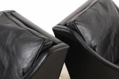 B rge Mogensen Borge Mogensen B rge Mogensen Pair of Black Leather Armchairs Model 2207 for Fredericia - 1247782