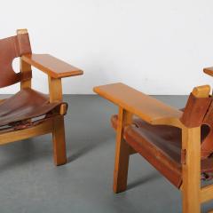 B rge Mogensen Borge Mogensen Pair of Spanish Chairs by B rge Mogensen for Fredericia Denmark 1960 - 1326479