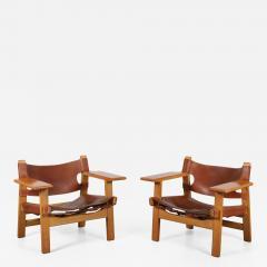 B rge Mogensen Borge Mogensen Pair of Spanish Chairs by B rge Mogensen for Fredericia Denmark 1960 - 1327797