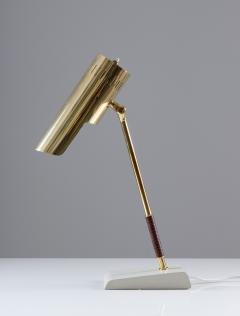 BOR NS BOR S Swedish Midcentury Table Lamp in Leather and Brass by Bor ns - 1290835