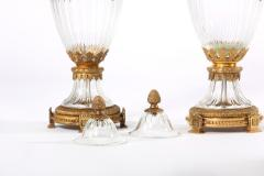 Baccarat 19th Century Pair Baccarat Crystal Bronze Mounted Urns Vases - 1593386