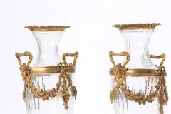 Baccarat 19th Century Pair Baccarat Crystal Bronze Mounted Urns Vases - 1593387