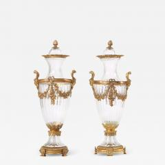 Baccarat 19th Century Pair Baccarat Crystal Bronze Mounted Urns Vases - 1595021