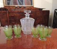 Baccarat Baccarat Art Deco Decanter and Green Glasses - 1343413