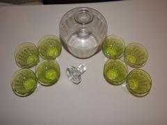 Baccarat Baccarat Art Deco Decanter and Green Glasses - 1343415