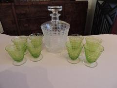 Baccarat Baccarat Art Deco Decanter and Green Glasses - 1343416