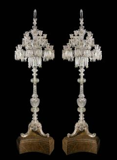 Baccarat Cristalleries De Baccarat A Large Pair of French Cut Crystal 18 Light Torcheres - 2138064