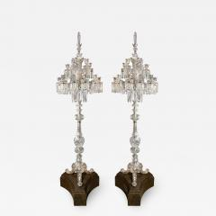 Baccarat Cristalleries De Baccarat A Large Pair of French Cut Crystal 18 Light Torcheres - 2139240