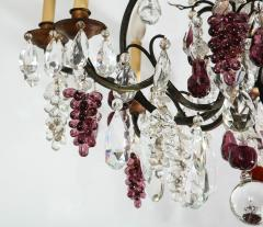 Baccarat French Baccarat Eight Light Chandelier with Colored Fruit Pendants - 1797316