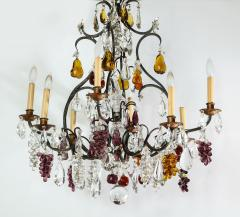 Baccarat French Baccarat Eight Light Chandelier with Colored Fruit Pendants - 1797317