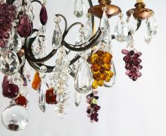 Baccarat French Baccarat Eight Light Chandelier with Colored Fruit Pendants - 1797318