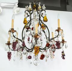 Baccarat French Baccarat Eight Light Chandelier with Colored Fruit Pendants - 1797319