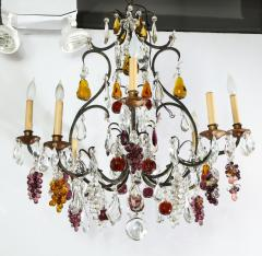Baccarat French Baccarat Eight Light Chandelier with Colored Fruit Pendants - 1797320