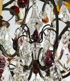 Baccarat French Baccarat Eight Light Chandelier with Colored Fruit Pendants - 1797322