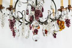 Baccarat French Baccarat Eight Light Chandelier with Colored Fruit Pendants - 1797323