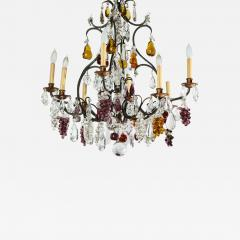 Baccarat French Baccarat Eight Light Chandelier with Colored Fruit Pendants - 1798667
