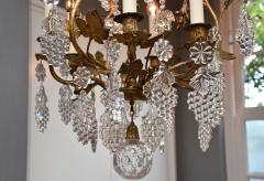Baccarat Gilt bronze antique French chandelier with Baccarat crystals - 1570725