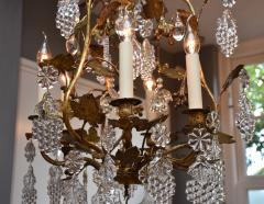 Baccarat Gilt bronze antique French chandelier with Baccarat crystals - 1570727