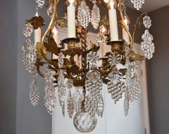 Baccarat Gilt bronze antique French chandelier with Baccarat crystals - 1570728