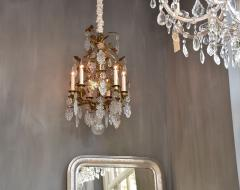 Baccarat Gilt bronze antique French chandelier with Baccarat crystals - 1570732