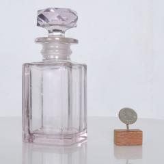 Baccarat Shimmering Pale Pink Cut Glass Perfume Bottle Faceted Stopper Style of Baccarat - 1889956