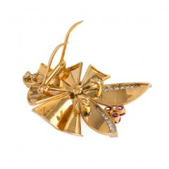 Bailey Banks Biddle Retro Gold Ruby and Diamond Brooch Retailed by Bailey Banks Biddle - 674957