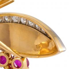 Bailey Banks Biddle Retro Gold Ruby and Diamond Brooch Retailed by Bailey Banks Biddle - 674959