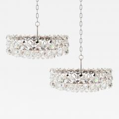 Bakalowits Sohne Pair of Large Crystal Drum Chandeliers - 222005