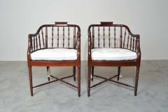 Baker Furniture Company Baker Furniture Faux Bamboo and Cane Regency Armchairs - 1979550