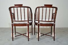 Baker Furniture Company Baker Furniture Faux Bamboo and Cane Regency Armchairs - 1979551