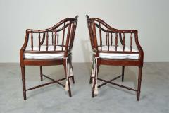 Baker Furniture Company Baker Furniture Faux Bamboo and Cane Regency Armchairs - 1979552