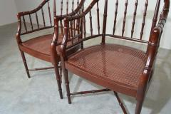Baker Furniture Company Baker Furniture Faux Bamboo and Cane Regency Armchairs - 1979553