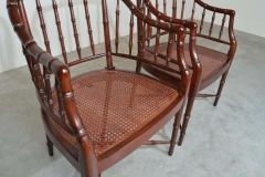 Baker Furniture Company Baker Furniture Faux Bamboo and Cane Regency Armchairs - 1979554