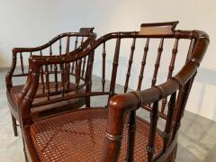 Baker Furniture Company Baker Furniture Faux Bamboo and Cane Regency Armchairs - 1979556