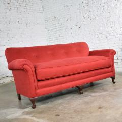 Baker Furniture Company Red smaller size lawson sofa with rolled arms down bench seat and tight back - 1682295