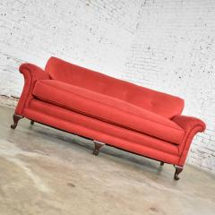 Baker Furniture Company Red smaller size lawson sofa with rolled arms down bench seat and tight back - 1682298