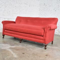 Baker Furniture Company Red smaller size lawson sofa with rolled arms down bench seat and tight back - 1682303