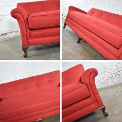 Baker Furniture Company Red smaller size lawson sofa with rolled arms down bench seat and tight back - 1682330