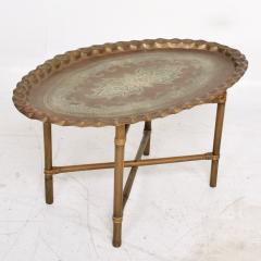 Baker Furniture Company Scalloped Indian Brass Bamboo Coffee Table Hollywood Regency Baker USA 1960s - 1632594
