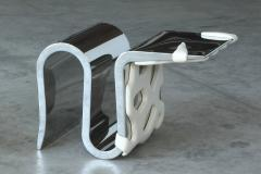 Barberini Gunnell Chair or side table in polished stainless steel chrome effect white leather - 1442030