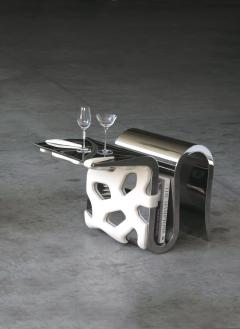 Barberini Gunnell Chair or side table in polished stainless steel chrome effect white leather - 1442031