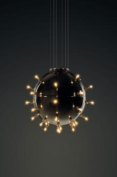 Barberini Gunnell Chandelier lamp in polished stainless steel chrome effect sphere Italy - 1449161