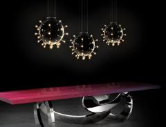Barberini Gunnell Chandelier lamp in polished stainless steel chrome effect sphere Italy - 1449165