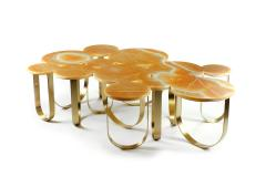 Barberini Gunnell Coffe table or center table in orange onyx and brass made in Italy - 1441956