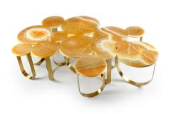 Barberini Gunnell Coffe table or center table in orange onyx and brass made in Italy - 1441958
