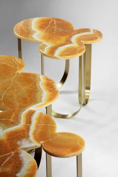 Barberini Gunnell Coffe table or center table in orange onyx and brass made in Italy - 1441959