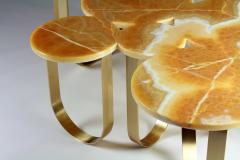 Barberini Gunnell Coffe table or center table in orange onyx and brass made in Italy - 1441961