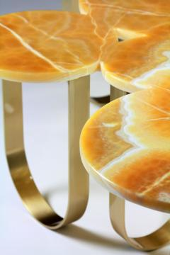 Barberini Gunnell Coffe table or center table in orange onyx and brass made in Italy - 1441963
